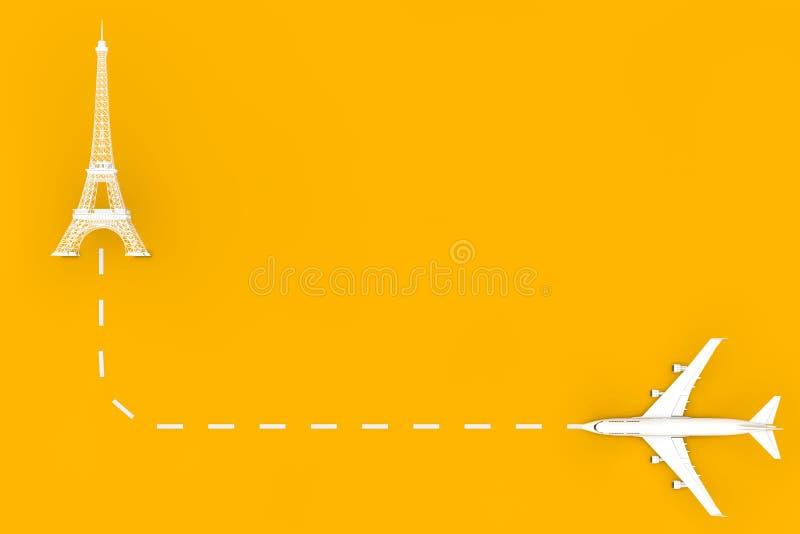Resa till Frankrike White Jet Passenger's Airplane Fly to Eiffel Tower Building 3d Rendering stock illustrationer