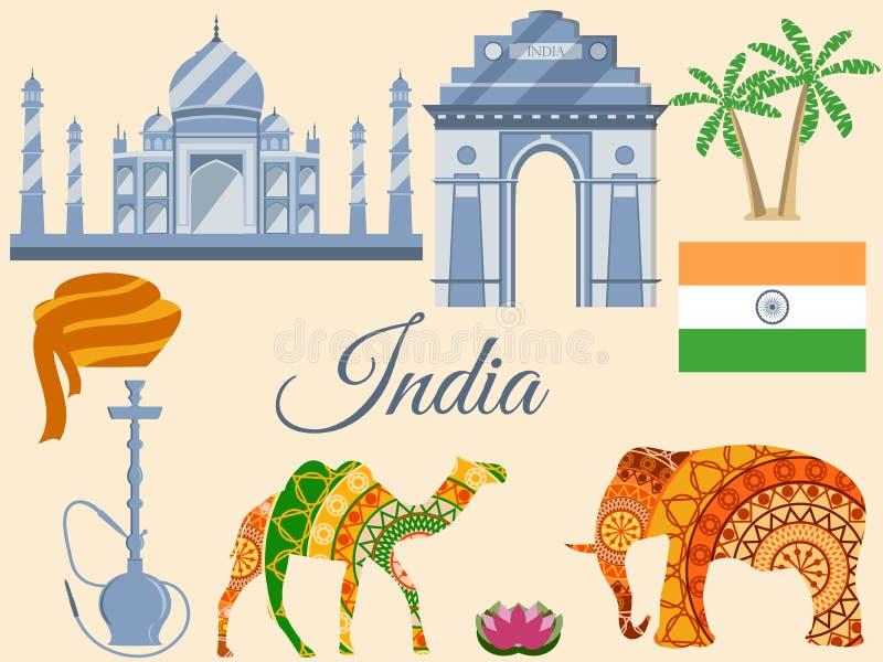 Resa till Indien, Indias traditionella symboler, symbolsdragningar stock illustrationer