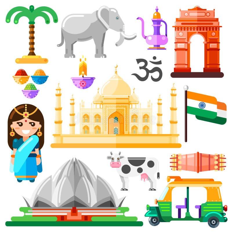 Resa till Indien vektorsymboler och designbeståndsdelar Indiska nationella symboler och gränsmärken sänker illustrationen royaltyfri illustrationer
