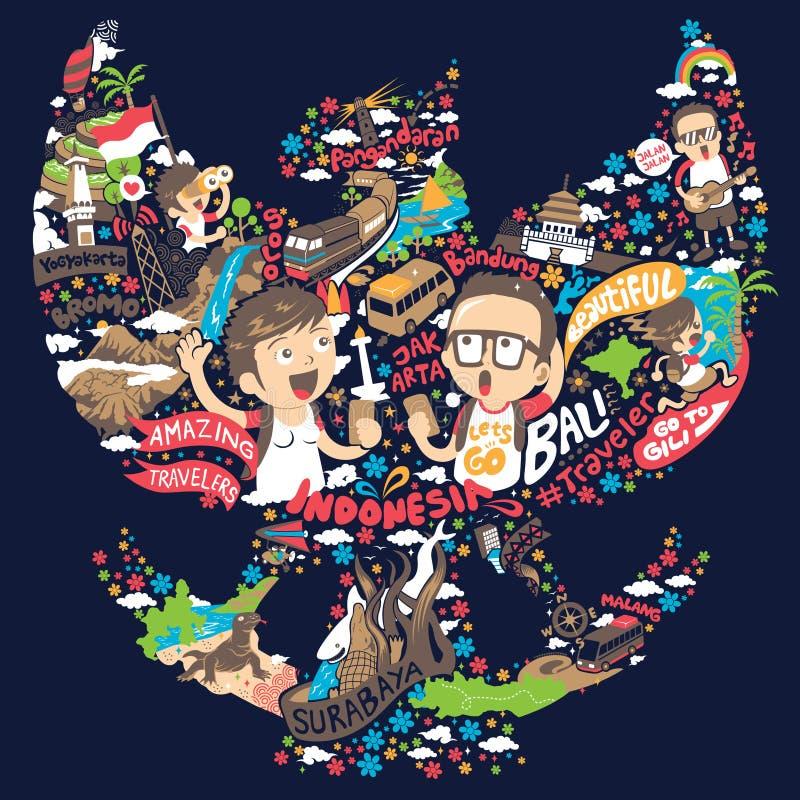 Resa till indonesia i garudaformillustration stock illustrationer