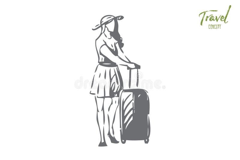 Resabegreppet skissar Isolerad vektorillustration stock illustrationer