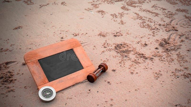 resabegreppsbild av den svart tavlan och sandglass för idérikt I arkivfoton