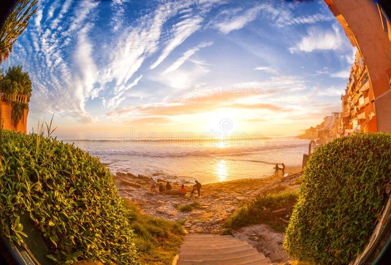 Resaca de la puesta del sol en Taghazoute en Marruecos 2 fotos de archivo libres de regalías