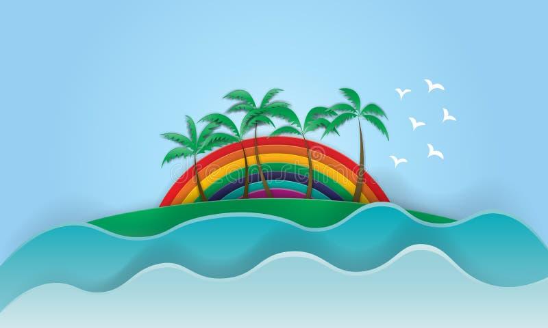 Resaca y palma maravillosas del verano del lema de la puesta del sol del arco iris de California ilustración del vector