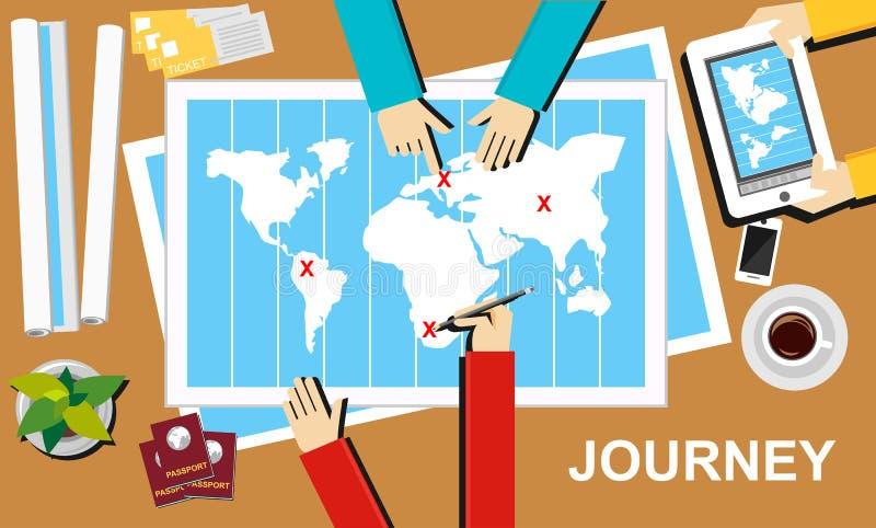 Resaillustration Resabanerbegrepp Plana designillustrationbegrepp för resan, destination, tur, affärsföretag, teamwor stock illustrationer