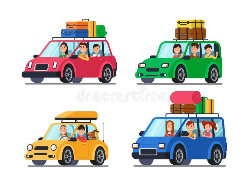 Resande bilar för familj Lyckligt folklopp i bil Semestertur med modern och fadern i minivantecknad filmvektor royaltyfri illustrationer