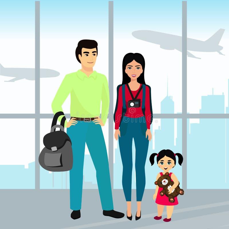 Resande familj för vektorillustration med bagage i flygplatsbyggnaden Fadern, modern och dottern reser tillsammans royaltyfri illustrationer