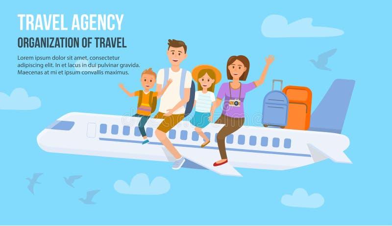 Resande familj på semester också vektor för coreldrawillustration stock illustrationer