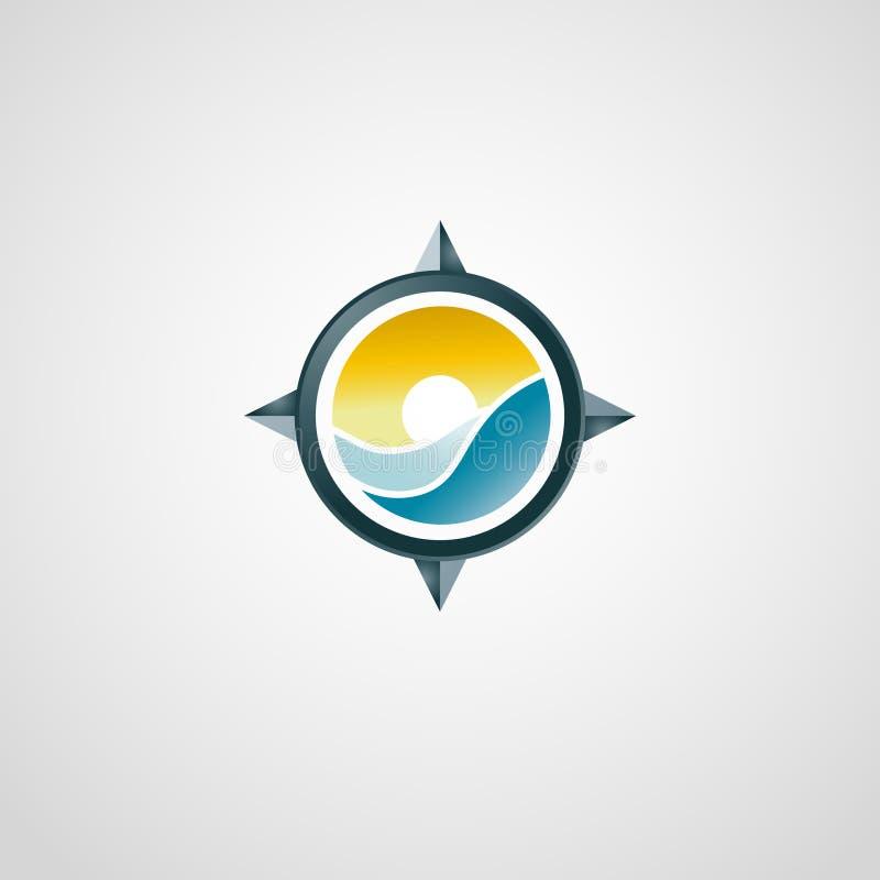 Resande logo med kompasset för panoramahav för liggande 3d solnedgång royaltyfri bild