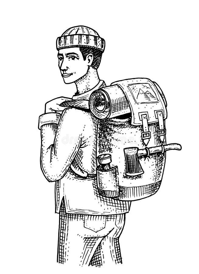 Resande man med ryggsäcken och bagage Campa tur, utomhus- affärsföretag som fotvandrar Hipsterturism Dragen inristad hand stock illustrationer