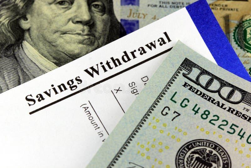 Resbalón del retiro de los ahorros - concepto de las actividades bancarias imagen de archivo libre de regalías