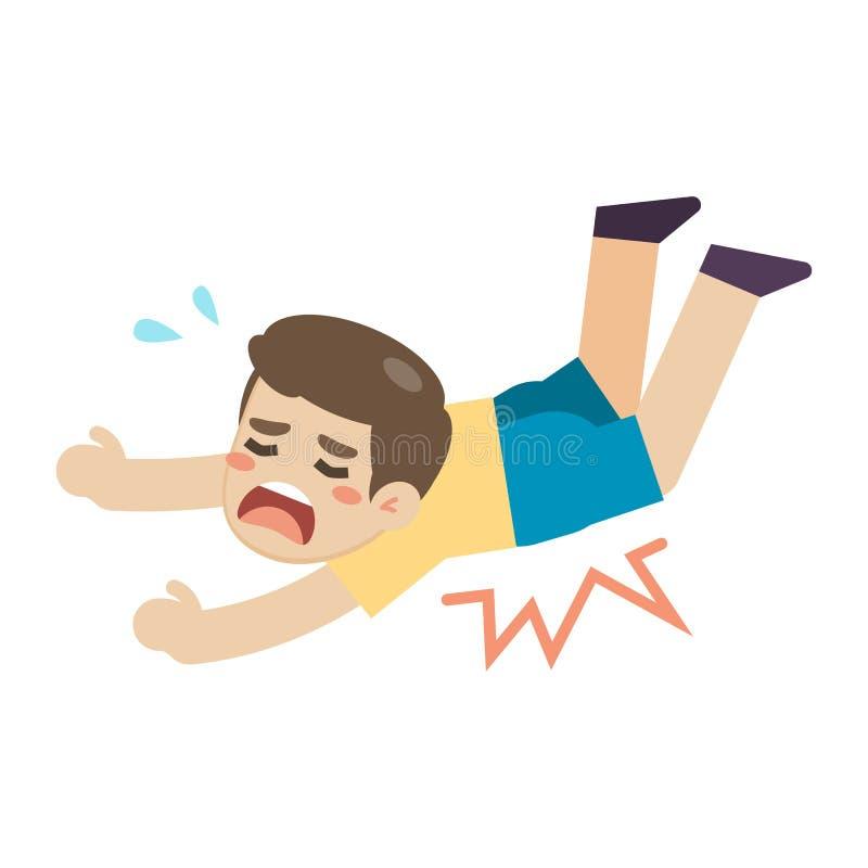 Resbalón y tropiezo en el piso, ejemplo del muchacho del vector libre illustration