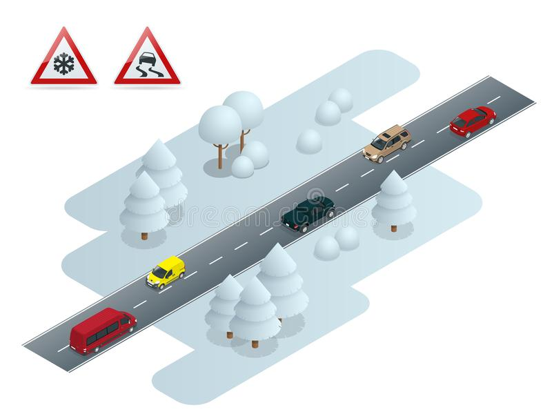 Resbaladizo, hielo, invierno, camino de la nieve y coches Nieve de la precaución Invierno que conduce y seguridad en carretera Tr ilustración del vector