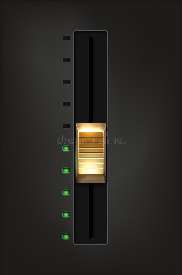 Resbalador de oro del metal y diodos verdes en fondo gris stock de ilustración