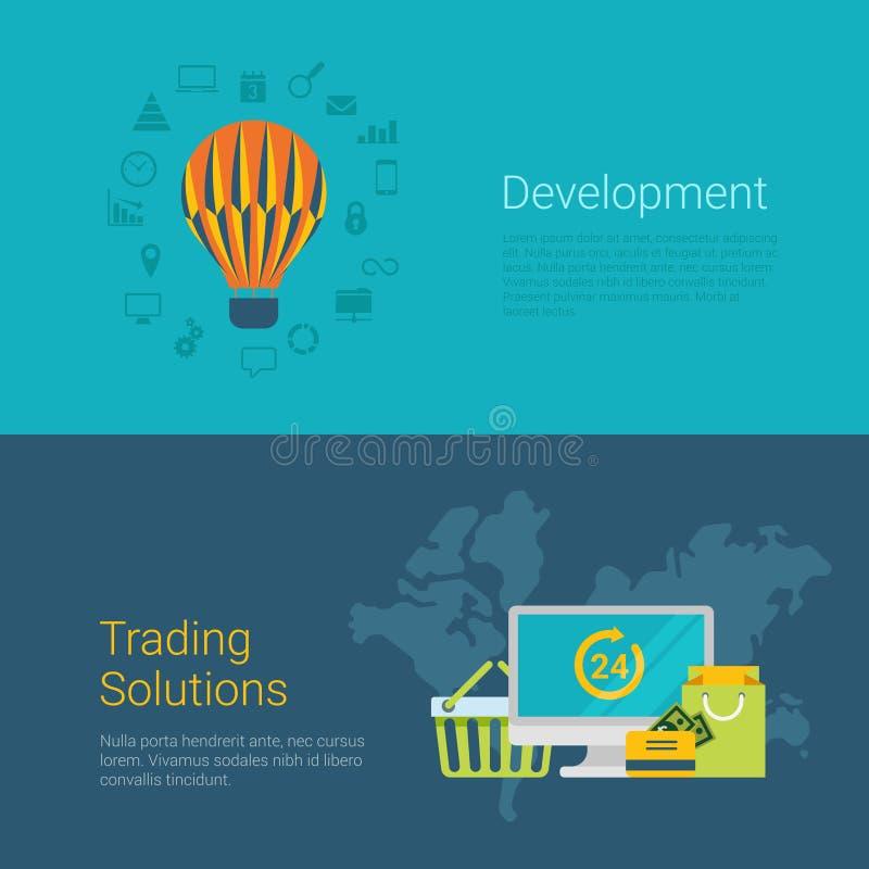 Resbalador plano comercial de la bandera del sitio web del vector de la solución del desarrollo libre illustration