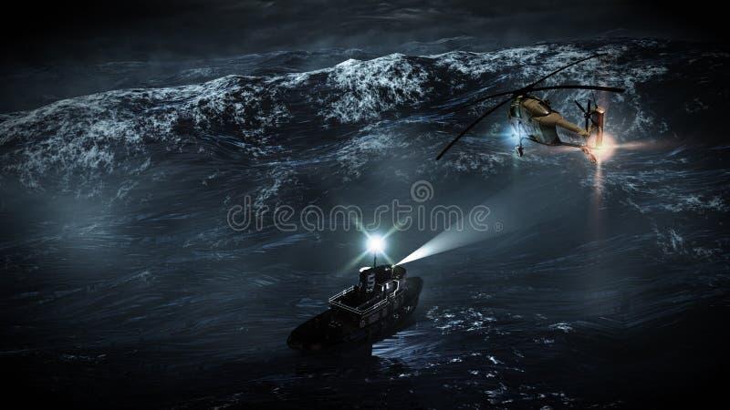 Rescate del mar de tormenta ilustración del vector