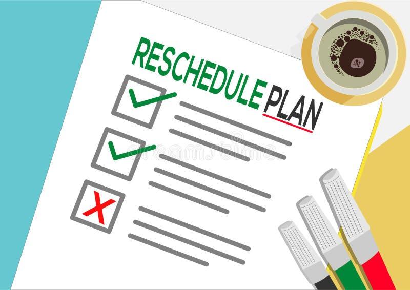 Reschedule planu lub planowania ikony pojęcie Jeden zadanie nie udać się Papier ciąć na arkusze z czek ocenami, abstrakcjonistycz royalty ilustracja