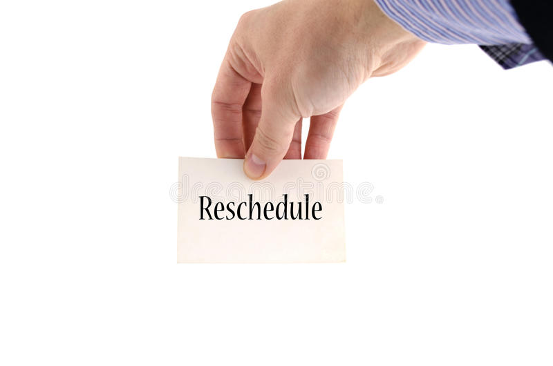 Reschedule text concept stock photography