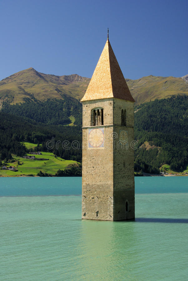 Download Reschensee with church stock photo. Image of reschen - 13493416