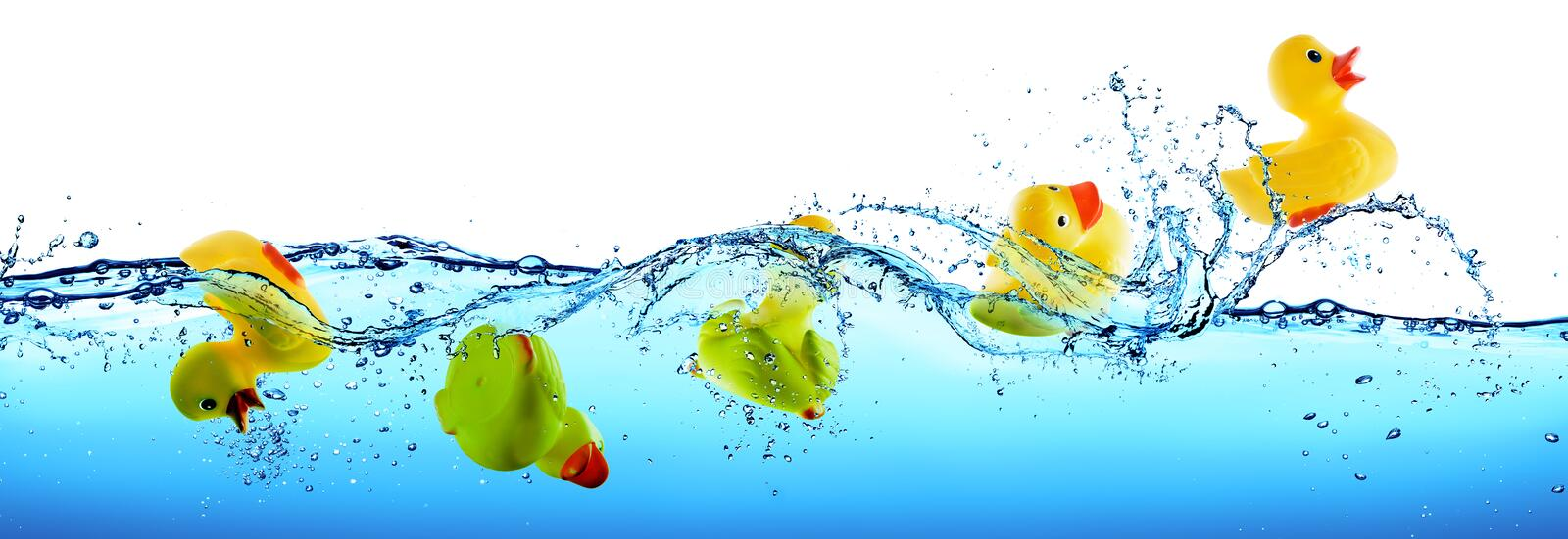 Rescue And Assistance Concept - Rubber Duck Drowning And Floating. On Water royalty free stock photo