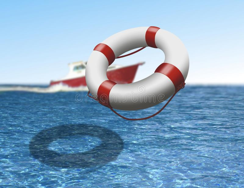 Download Rescue Boat And Buoy At Sea Stock Illustration - Image: 27749886