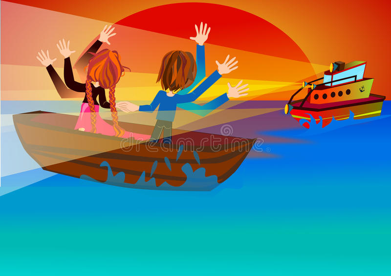 The Rescue Boat is coming stock illustration