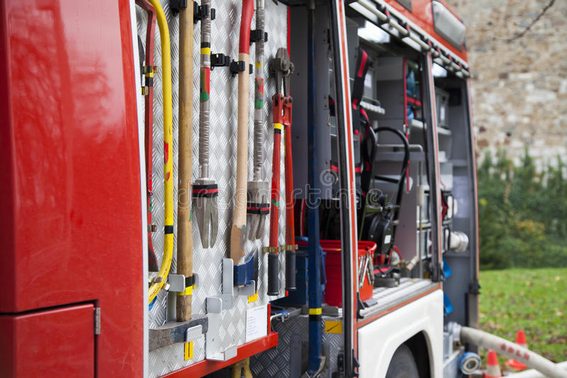 Rescue equipment, tool of fire-fighting truck. Rescue equipment and tool of fire-fighting truck, close-up royalty free stock images