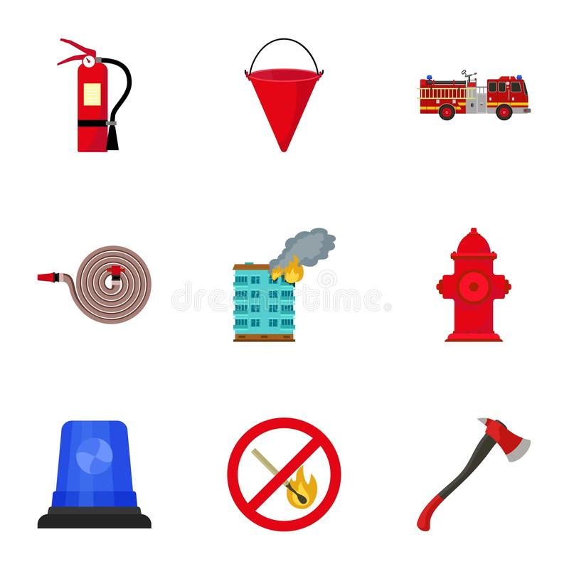 Rescue firefighter icon set, flat style. Rescue firefighter icon set. Flat set of 9 rescue firefighter vector icons for web design isolated on white background royalty free illustration