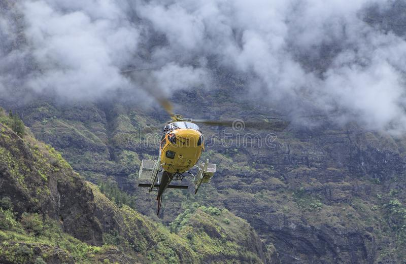 Rescue helicopter in action stock photos