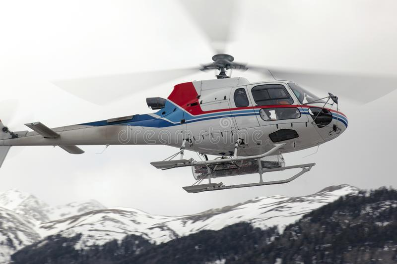 A rescue helicopter in the sky royalty free stock photo