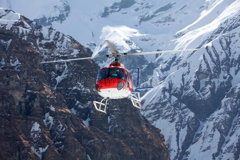 Rescue helicopter in Annapurna basecamp, Nepal.  royalty free stock photography