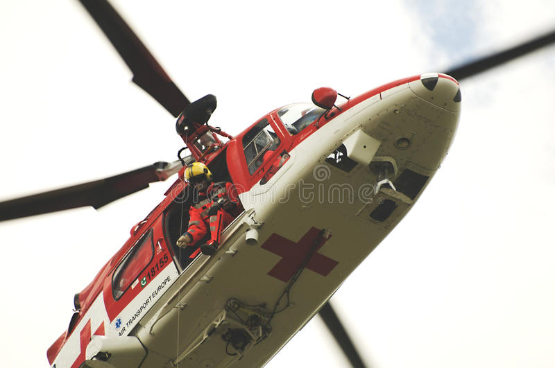 Rescue helicopter conducting training royalty free stock photo