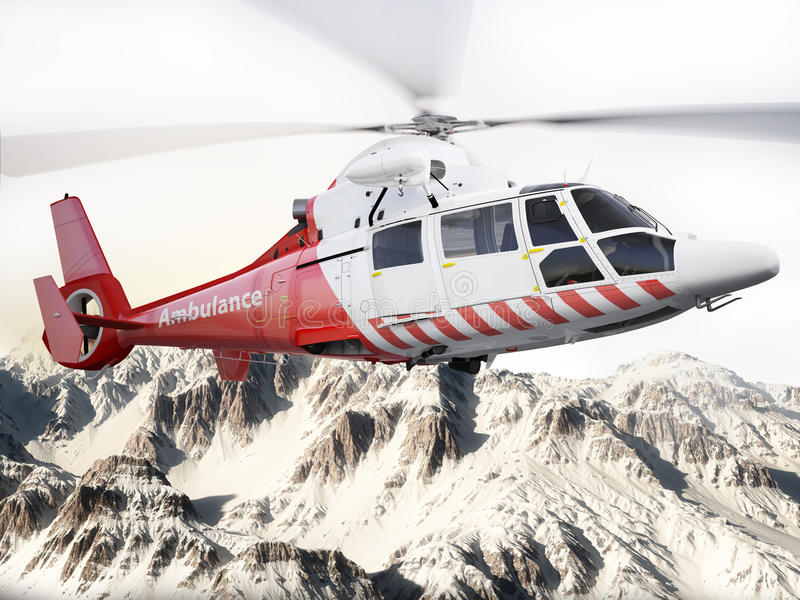 Rescue helicopter in flight over snow capped mountains vector illustration