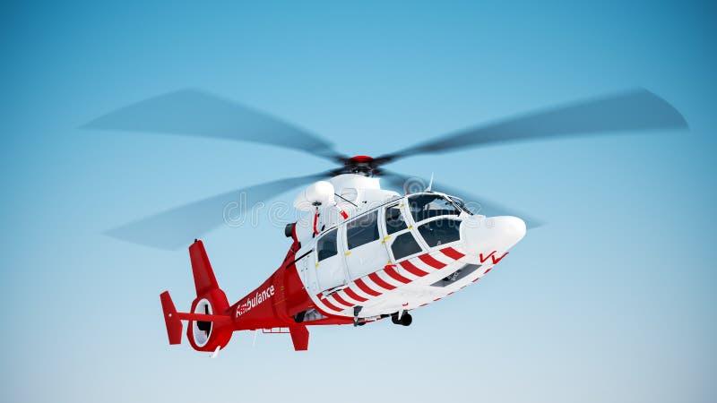 Helicopter. Over blue sky background stock illustration