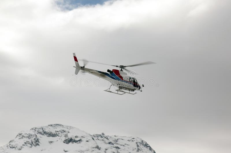 A rescue helicopter in the sky royalty free stock image