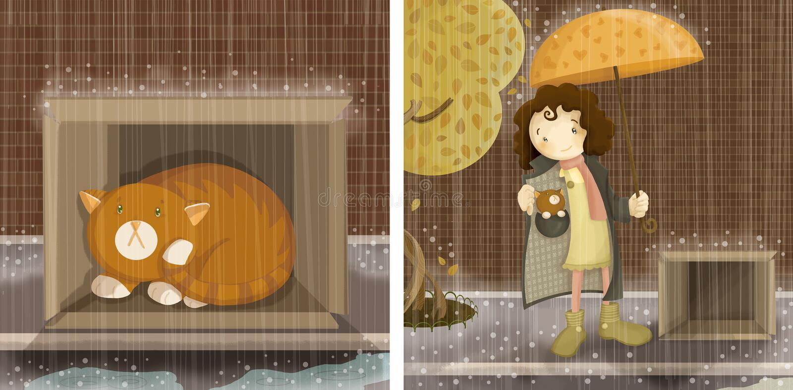 Rescue little cat. Set of two children style illustrations with a little frightened kitten left in a cardboard box under the pouring rain rescued by a cute
