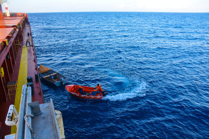 Rescue operation on sea. Rescue operation on offshore sea royalty free stock photo