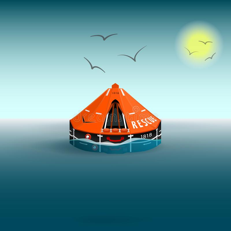 Rescue a orange raft on the sea. Gulls and the sun. Salvation on the water. Vector illustration stock illustration