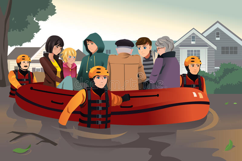 Rescue team helping people during flooding stock illustration