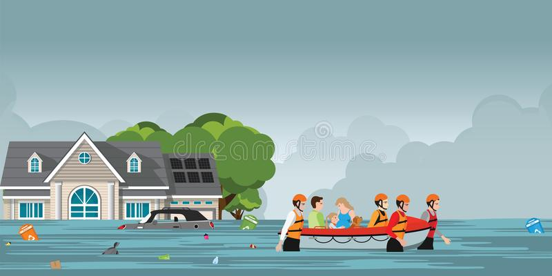 Rescue team helping people by pushing a boat through a flooded r. Oad, vector illustration royalty free illustration