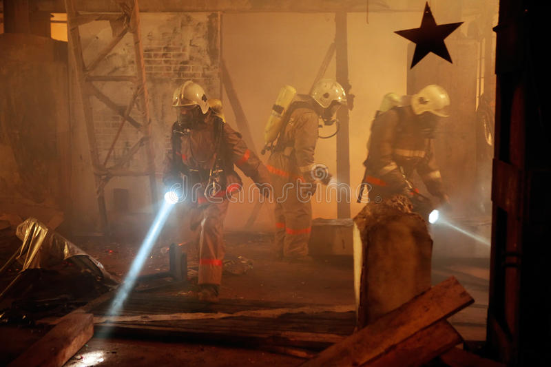 Rescue team search an accident victim stock photos