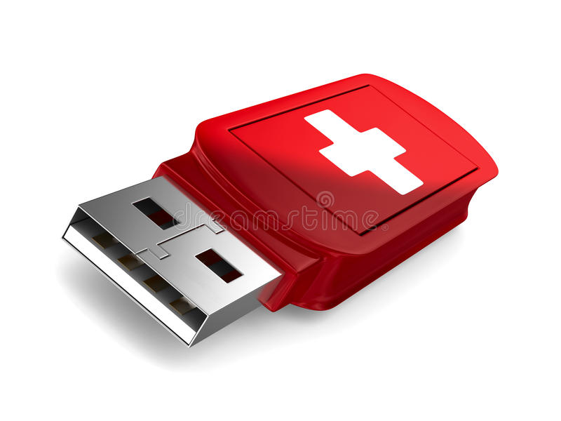 Rescue usb flash drive on white background. 3D image stock illustration