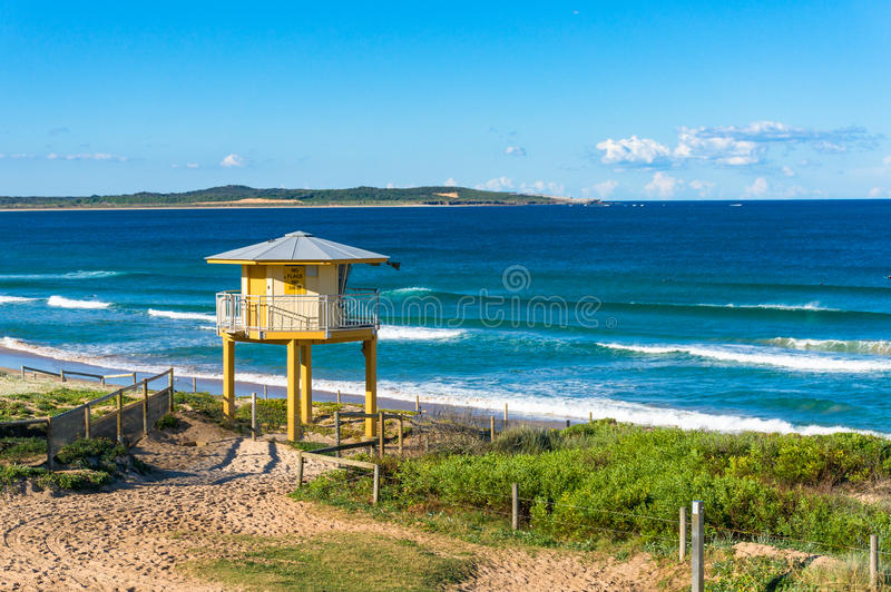 Rescue watch tower on the beach. Rescue watch tower with beautiful ocean beach view on the background. Cronulla, Australia royalty free stock photography