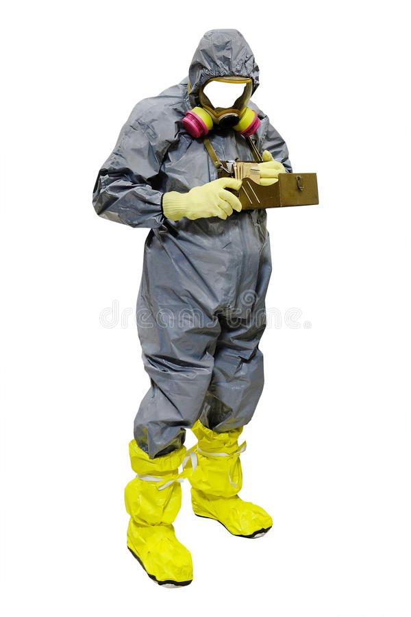 Rescuer in a protective suit. Isolated under the white background stock image