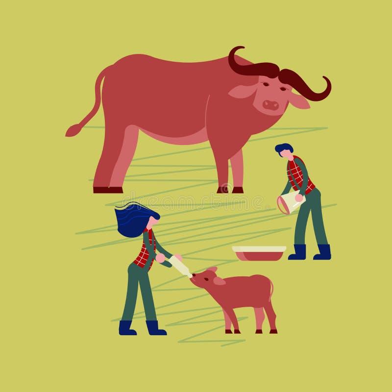 Rescuers fed wild buffaloes. World rare animal protection. Rescuers volunteers fed wild buffaloes. Flat Art Vector illustration stock illustration