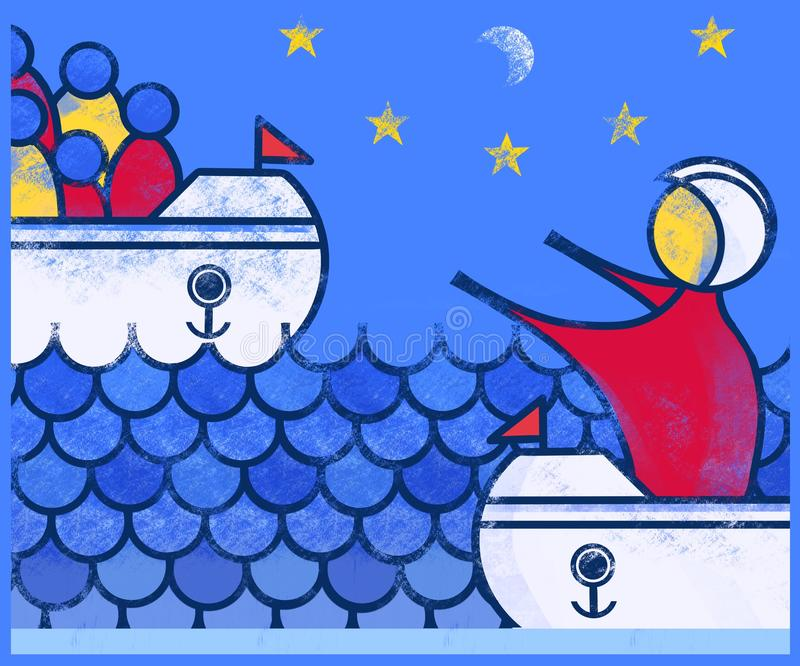 Rescuing Refugees from the sea. royalty free stock images