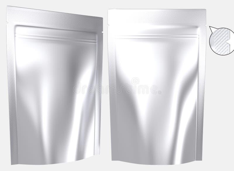 Resealable stående plastpåse för tom folie royaltyfri illustrationer