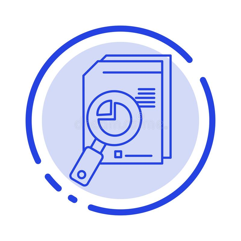 Research, Analysis, Analytic, Analytics, Chart, Data, Graph Blue Dotted Line Line Icon royalty free illustration