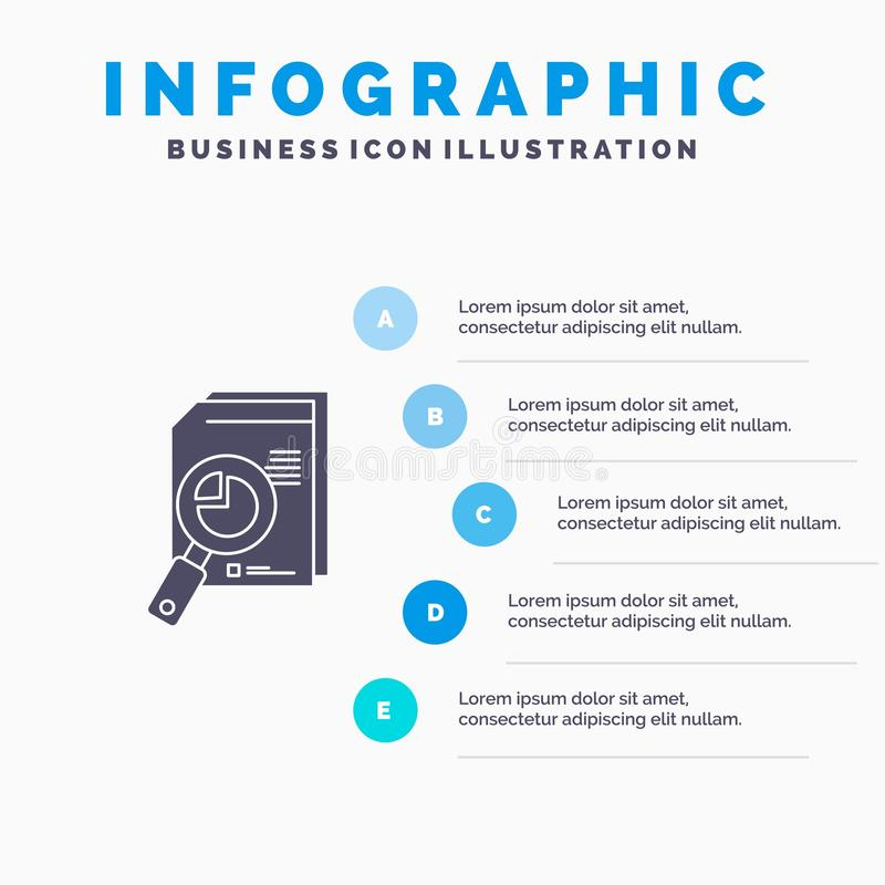 Research, Analysis, Analytic, Analytics, Chart, Data, Graph Solid Icon Infographics 5 Steps Presentation Background stock illustration