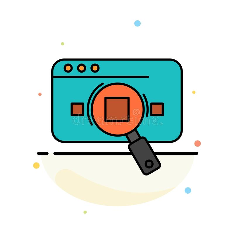 Research, Analytic, Analytics, Data, Information, Search, Web Abstract Flat Color Icon Template royalty free illustration